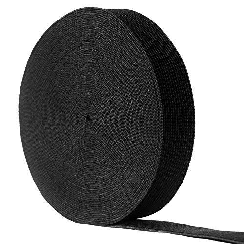 12 Yards Flat Elastic Band Spool Heavy Stretch Sewing Elastic Cord (Black, 3/4 Inch Width)
