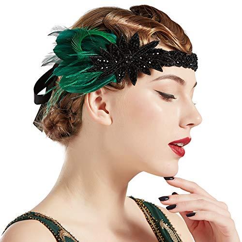 BABEYOND Damen 1920s Feder Stirnband 20er Jahre Stil Flapper Charleston Haarband Great Gatsby Damen Fasching Kostüm Accessoires (Dunkelgrün)