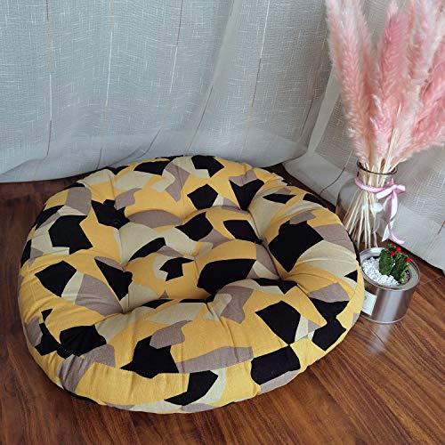 JINMURY Grand coussin de sol rond de 55,9 cm - Pour la méditation - Mandala indien - Tatami - Tapis pour salon, chambre d'enfant, balcon, jardin - Jaune