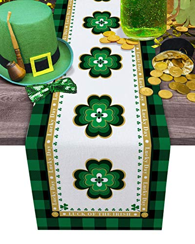 IDOWMAT Linen Burlap Table Runner, St. Patrick's Day Four Leaf Clover Green Plaid Background Dresser Scarve, Non-Slip Farmhouse Table Runners for Wedding, Kitchen, Dining Room Decoration 13
