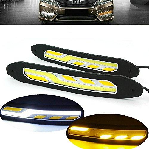 Heinmo 2 pcs LED de voiture phares COB lampe de brouillard de voiture DRL DRL avec tour Signal lumières étanche