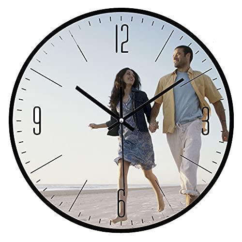Orologio Personalizzato con la Tua Foto,Orologio muro,Meccanismo orologio da parete silenzioso,personalizzato stampato con testo o logo scelta,per anniversari di compleanno,matrimonio,festa mamma