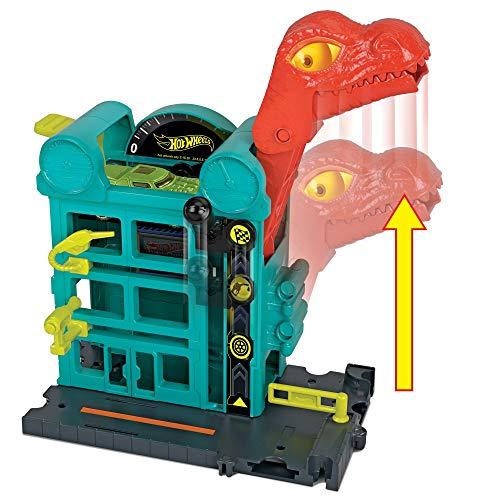 Mattel Hot Wheels-City Dino-Ataque al Garaje, Parking Juguetes Coches niños +4 años, Multicolor GBF91