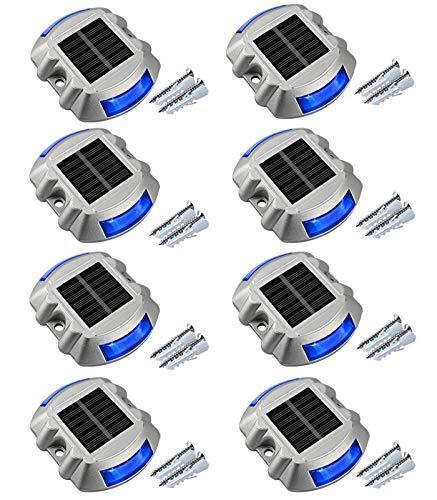 Solar Dock Light Driveway Lights Outdoor, APONUO Solar Deck Lights 8packs Pathway Lights Led Step Waterproof Outdoor Warning Step Lights for Driveway Garden Pathway Step (White) (Blue)