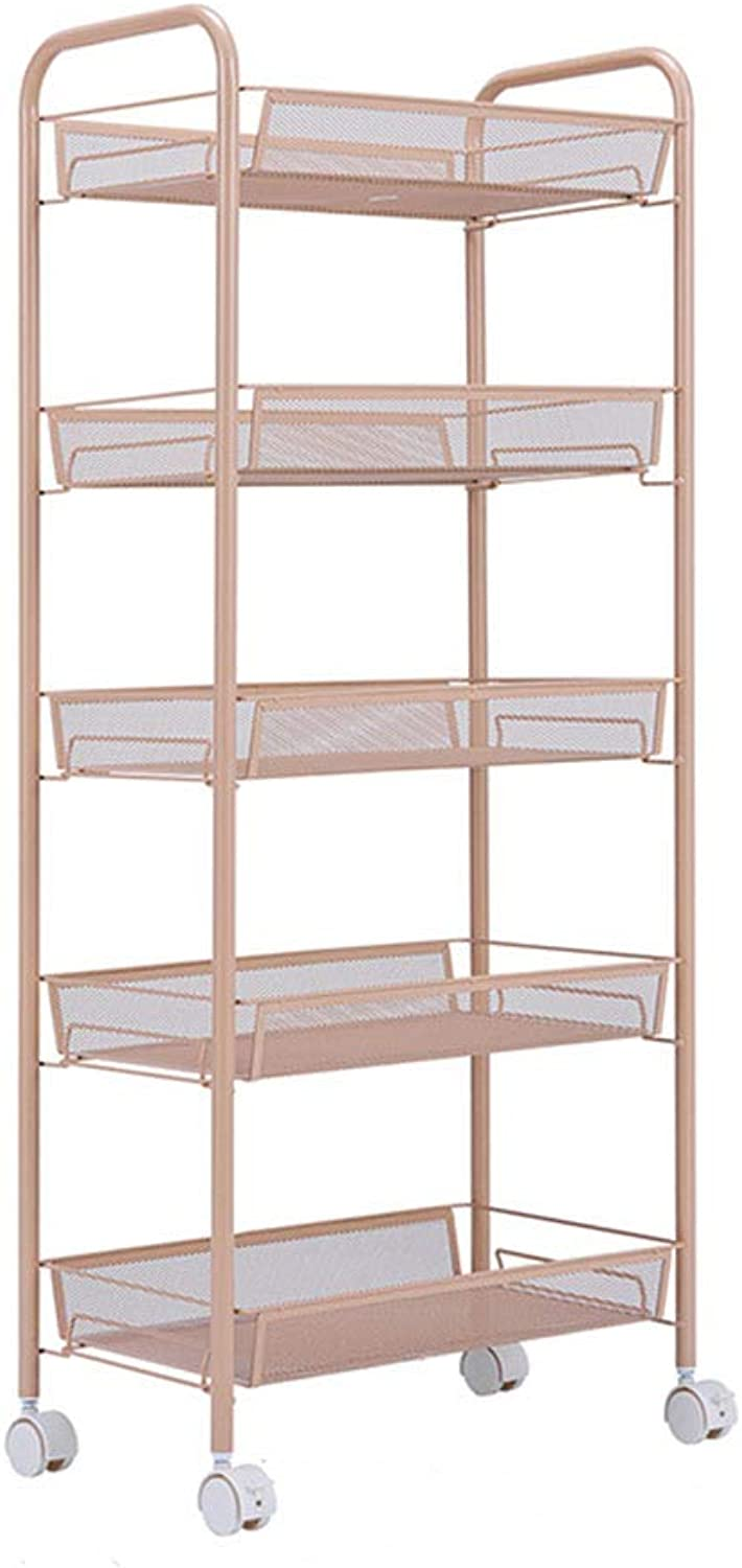 XLong-Home 5-Tier Slide Out Removable Trolley Rack Tower Kitchen Bedroom Storage Rack Bathroom Shelf with Wheel