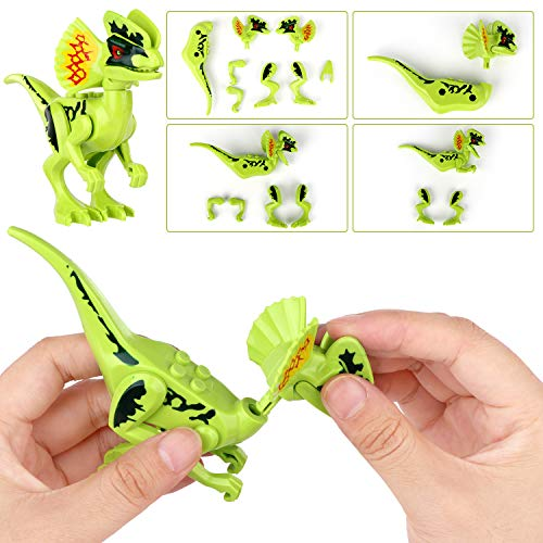 Dinosaurs Playset Building Blocks DIY Dino Jurassic World Action Figures 8 PCS Mini Educational Toy Idea Gift for Kids Boys Girls Party Favors Above 6 Years Old