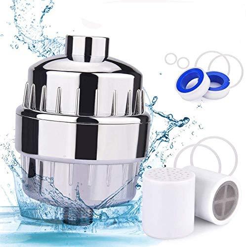 Duschfilter, BASEIN 17-Stufiger Wasserfilter Weichmacher Duschkopf Wasserfilter, Einschließlich 1 Austauschbarer Filterpatronen, Chromgehäuse, Teflonband und 6 Scheibenringen