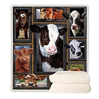 ChriHome Sherpa Fleece Blanket 3D Young Cow Thicker Warm Throw Blanket for Sofa Couch Bed Travel Home Decor Soft Plush Bedding Blankets  Young Cow 60   x 50