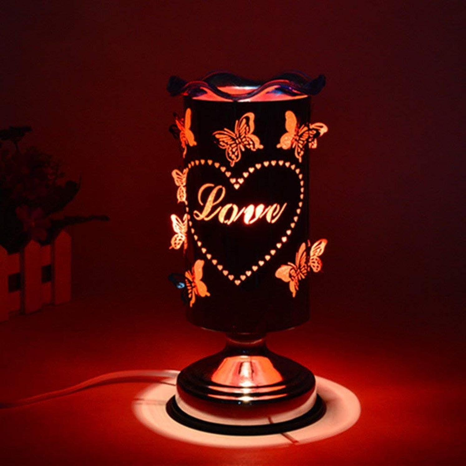 ヘビー社員相続人バタフライアロマランププラグイン調節可能なライトエッセンシャルオイルランプ香炉バーナーベッドサイドデスクランプロマンチックギフトアロマランプ