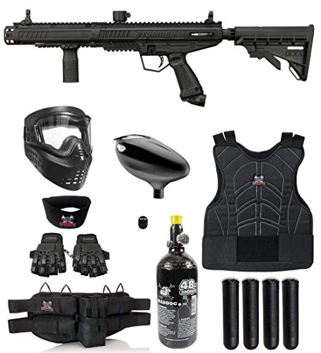 Maddog Tippmann Stormer Tactical Protective HPA Paintball Gun Marker Starter Package - Black