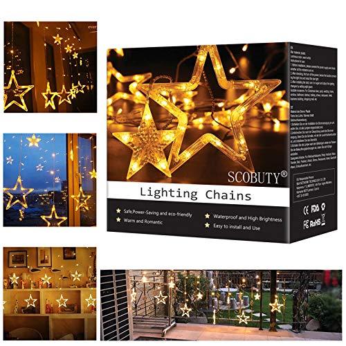 Luces LED de Cortina,Cortina Luces Estrellas,Luces de cadena de estrellas, fiesta de bodas, decoración navideña para interiores y exteriores con 8 modos de luz intermitente, blanco cálido