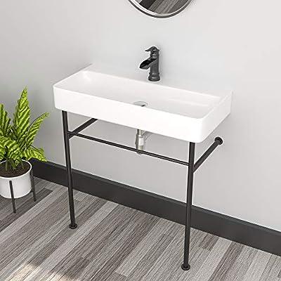 Vessel Sink Console - Sarlai 35 Inch Bathroom Sink Wall Mounted with Metal Bracket White Ceramic Bathroom Vanity Sink Basin Pedestal Sink
