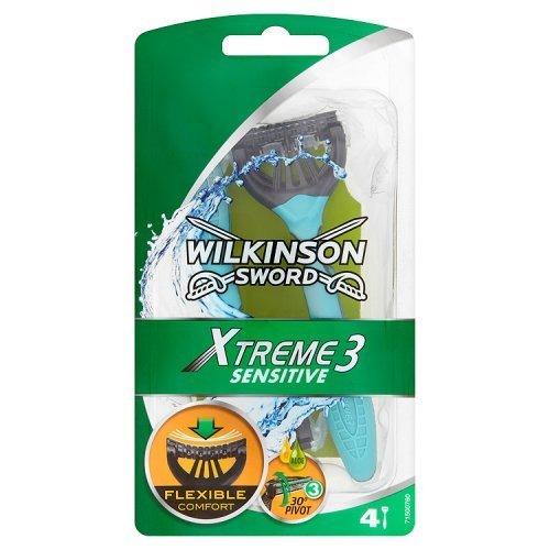 Wilkinson Sword Xtreme 3 - Maquinillas de afeitar desechables (pieles sensibles, 4 unidades)