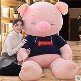 BEARS'HOMEブタ ぬいぐるみ 特大 豚 大きいぶた/抱き枕/クマ縫い包み/プレゼント/ふわふわぬいぐるみ (ネイビー服、目閉じる, 120cm)