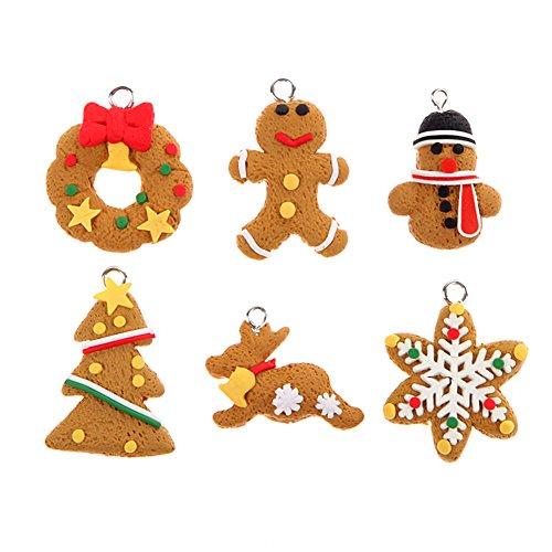Chytaii Dekorationsset, Weihnachtsbaum, Figur, Anhänger in Form eines Männens, Gewürzbrot, süßes Mini-Zubehör für Schmuck, Armband.