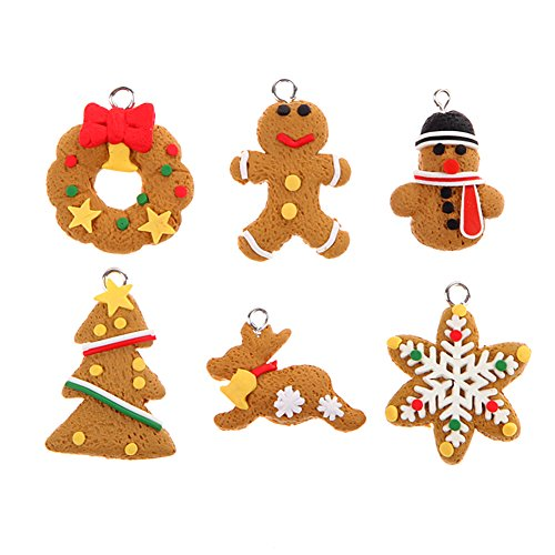 6×Chytaii Weihnachtsbaum Anhänger Baumbehang Weihnachtsbaum Hängende Ornamante Lebkuchen Weihnachten Deko für Weihnachtsbaum