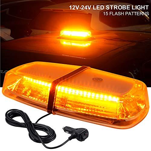 72W Luz Estroboscópica de Advertencia 30 LEDS Luz Emergencia del Vehículo15 Modos de Flash con Interruptor Toma de Mechero Luz Ambar de Emergencia para 12V/24V Coche SUV Remolque Camione