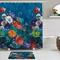 WOTAKA シャワーカーテン バスマット 2点セット フラワーアート美しい繊細な花の植物ロマンチックな油絵のスタイル 自家 寮用 ホテル 間仕切り 浴室 バスルーム 風呂カーテン 足ふきマット 遮光 防水 おしゃれ 12個リング付き