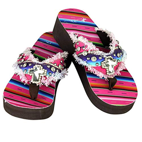 Montana West Flip Flop Sandals Hand Beaded Embroidered Studded (7B(M), Cf Bling Cross)