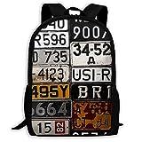 Various Old Car Licenses Travel Laptop Backpack Business Resistant School Computer Bag