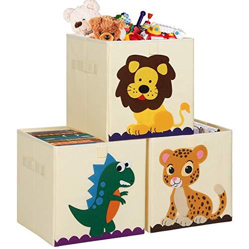 TomCare - Juego de 3 cubos de almacenamiento para juguetes, cubos de almacenamiento para niños, cestas organizadoras de almacenamiento de contenedores, caja plegable de tela, organizador de juguetes para bebé, niño, dinosaurio, tigre de león