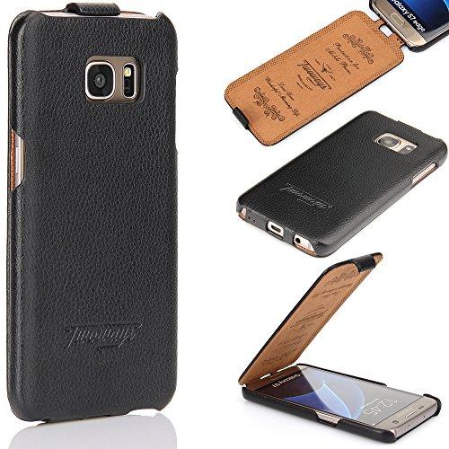 Twoways Handyhülle kompatibel mit dem Samsung Galaxy S7 Edge - Leder Handy Schutz im Flip Case Design - Hülle in Schwarz