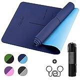 GISALA Tapis de Yoga TPE, Tapis de Sport Écologique Matériaux Recyclables,183x61x0.6cm, Tapis Yoga Antidérapant et Anti-Transpiration, Tapis de Sport(Bleu)
