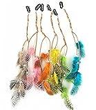 Fodattm - 6 extensiones de pelo de bohemio con clip de pluma, para niñas, con horquilla