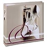 Hama Hochzeitsalbum Verona (22 x 22 cm, 100 weiße Seiten, 50 Blatt, Fotoalbum für 200 Fotos im Format 10x15 cm, Album) grau mit Hochzeitsschuh