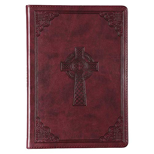 Christian Art Gifts Brown Faux Leather Journal | Celtic Cross | Slim Line Flexcover Inspirational Notebook w/Ribbon Marker, 240 Lined Pages, 6 x 8.5 x .8 Inches