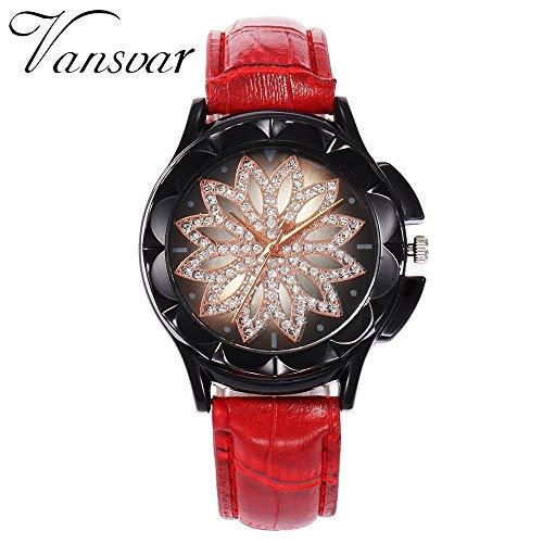 Fashion Women Rose Gold Flower Rhinestone Watch Luxury Casual Reloj de
