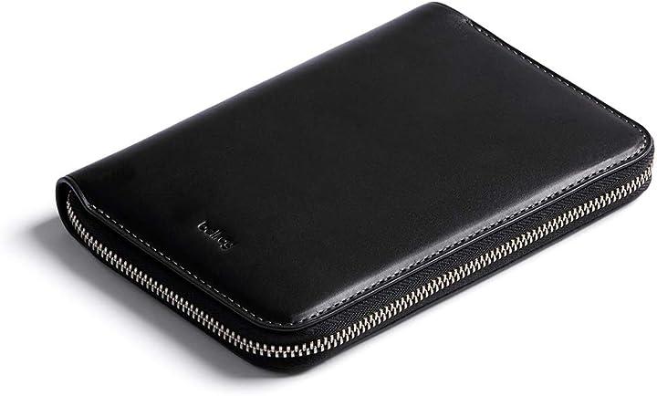 Travel folio in pelle bellroy  (adatto per 2 passaporti, 4-8 carte, carte d`imbarco, contante e una penna) WTFA-BLK-301