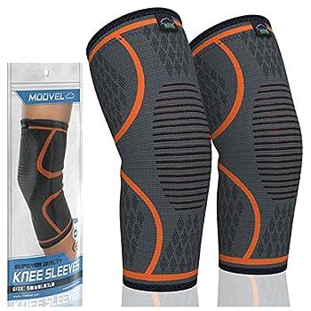 MODVEL 2 Pack Knee Brace | Knee Compression Sleeve for Men & Women | Knee Support for Running | Medical Grade Knee Pads for Meniscus Tear ACL Arthritis Joint Pain Relief  Medium Orange