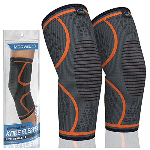 MODVEL 2 Pack Knee Brace   Knee Compression Sleeve for Men & Women   Knee Support for Running   Medical Grade Knee Pads for Meniscus Tear, ACL, Arthritis, Joint Pain Relief. (Medium, Orange)