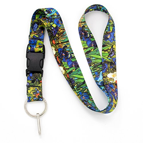 Buttonsmith Van Gogh Irises Premium Lanyard - with Buckle and Flat Ring - Made in The USA