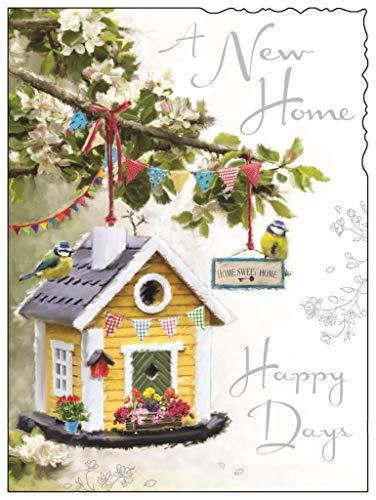 Jonny Javelin New Home Greetings Card - Bird House and Bunting 7.25' x 5.5'