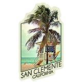 Lantern Press San Clemente, California, Lifeguard Shack and Palm, Contour 92203 (Vinyl Die-Cut Sticker, Indoor/Outdoor, Small)
