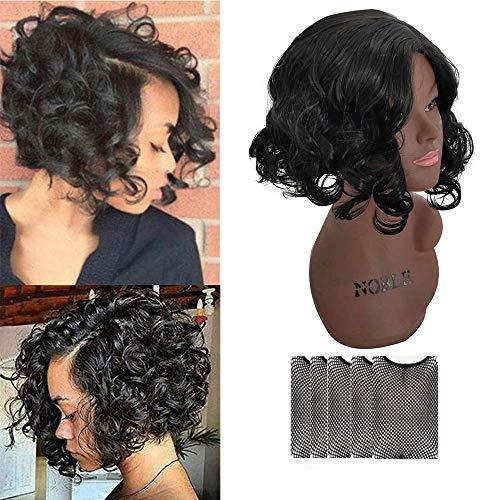 Perruque Brésilienne Bob Wave Bouclé Lace wig Noire Courte Cheveux Frisés Naturelle Femme Ondulée Synthetique 28 CM (Noir)
