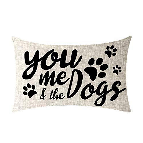 NIDITW Dog Quotes You Me The Dogs Cotton Burlap Decorative Rectangle Throw Lumbar Waist Pillow Case Cushion Cover for Couch Living Room 12X20 inches (DD)