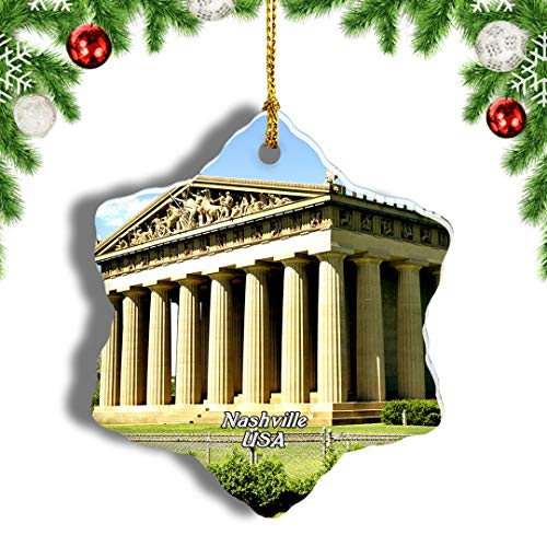 Weekino USA America The Parthenon Nashville Christmas Ornament Travel Souvenir Tree Hanging Pendant Decoration Porcelain 855' Double Sided