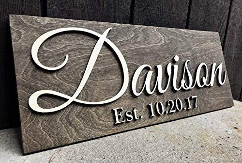 Custom Wood Sign Personalized Wedding Gift Wood Wall Art Personalized Sign Last Name Sign Established Sign Wooden Signs Bridal Shower Gift Anniversary Gift