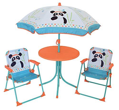 FUN HOUSE 713095 INDIAN PANDA Salon de Jardin avec 1 Table, 2 Chaises pliantes et 1 Parasol pour Enfant