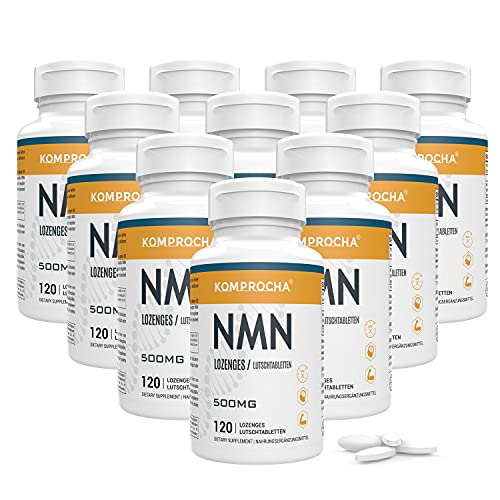 KOMPROCHA Sublingual NMN Supplement 500mg Nicotinamide Mononucleotide Lozenges Max Absorption Enhanced Bioavailability Boost NAD+ for Anti-Aging & Cellular Repair (1200 Tablets, Pack of 10)