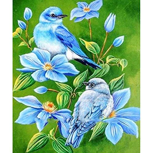 Diamante pintura 5D DIY diamante completo redondo diamante pájaro flor 40x45 cm bordado artesanía cosido a mano cristal rhinestone decoración de la pared pintura