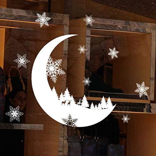 ZJN-JN engomadas de la pared Mes nieve papel pintado pared electrostática etiqueta de la ventana de cristal de Navidad las etiquetas engomadas DIY de la etiqueta de Navidad Decoración de Año Nuevo Dec