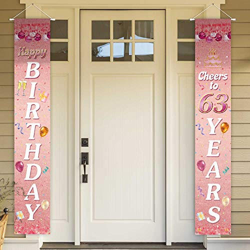 PAKBOOM Happy Birthday Cheers to 63 Years Pink Yard Sign Door Banner 63rd Birthday Decorations Party Supplies
