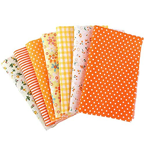 Nicole Knupfer Tissus au Metre, 7pcs Tissu Coton Motif Petit Fleur pour DIY Patchwork Artisanat Couture 50 cm x 50 cm (Orange)
