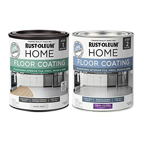Rust-Oleum 367601 Home Interior Floor Coating Kit, Semi-Gloss Pearl Gray