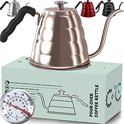 Pour Over Coffee Kettle with Thermometer-Flow Gooseneck Tea Kettles-Brew Barista-Standard Hand Drip Coffee Suitable all Stovetops and Induction, BPA Free (40 oz, Gold)