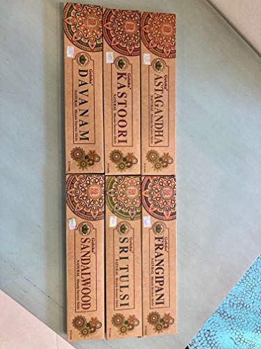 Set di 6 – Kastoori, Astagandha, Davanam, Sandalo, Sri Tulsi, Frangipani – by Goloka Organica Series by Goloka